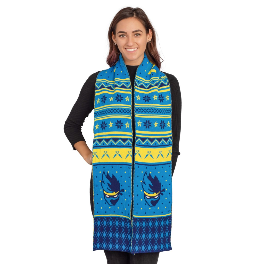 Fortnite Adult Ninja Logo Scarf – Blue/Yellow,Ugly Christmas Sweaters | Funny Xmas Sweaters for Men and Women