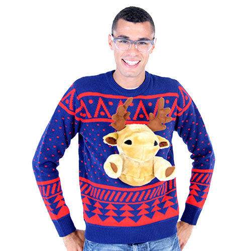 Navy 3-D Christmas Sweater with Stuffed Moose