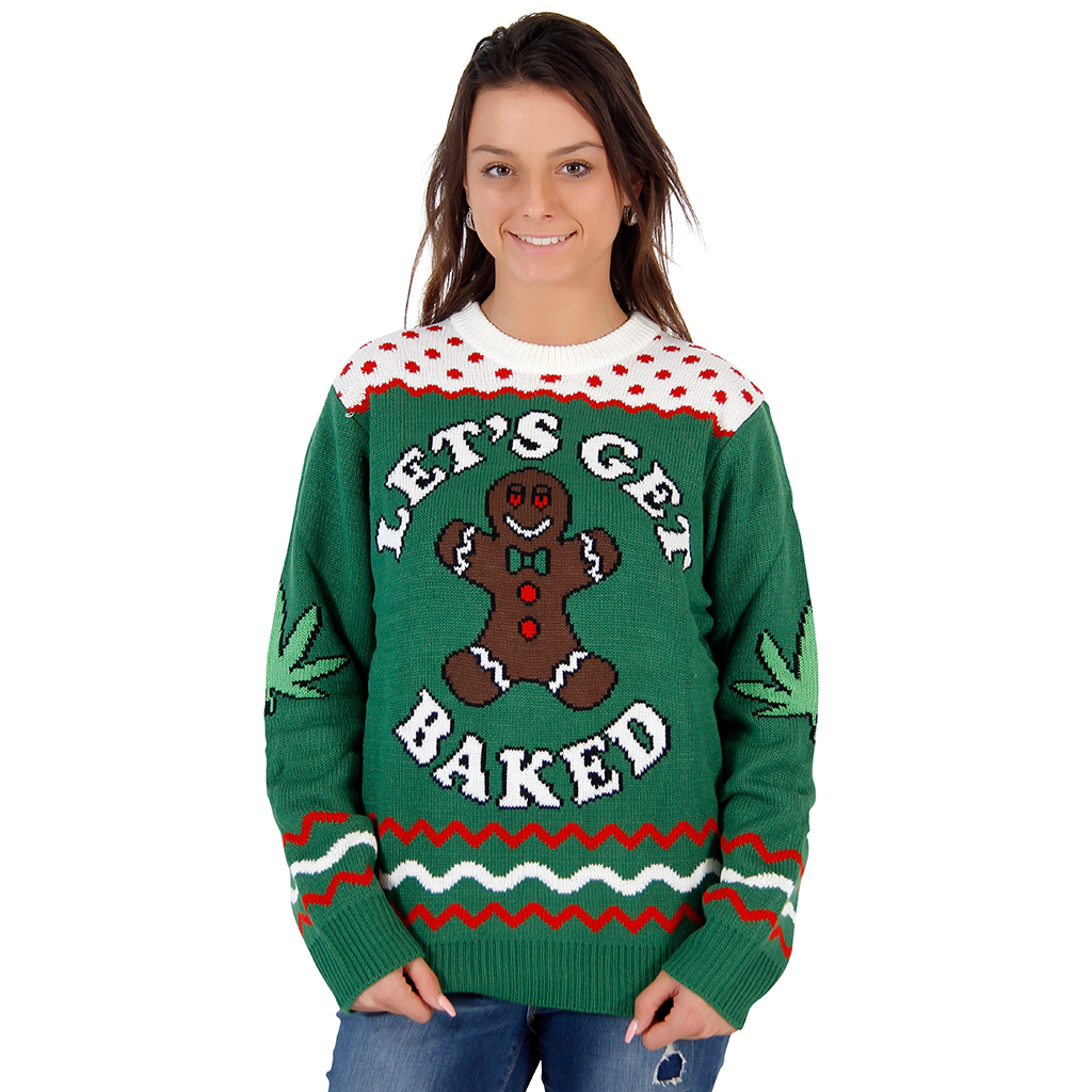 Women's Let's Get Baked Happy Gingerbread Tacky Christmas Sweater