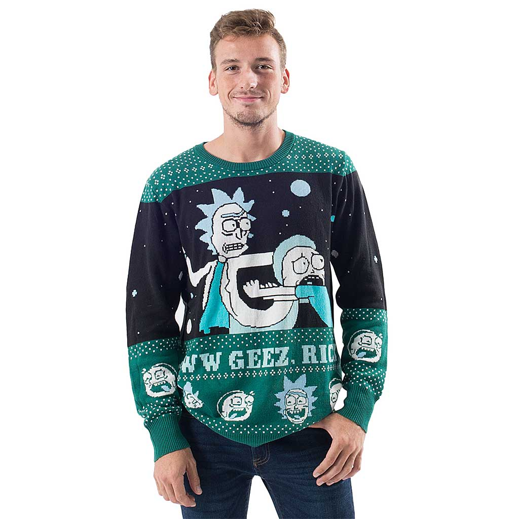 Rick and Morty Aww Geez, Rick Ugly Christmas Sweater,Ugly Christmas Sweaters | Funny Xmas Sweaters for Men and Women