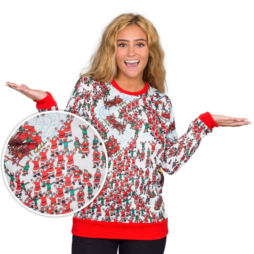 Women's Where's Waldo Santa Sleds Snow Mountain Ugly Sweater