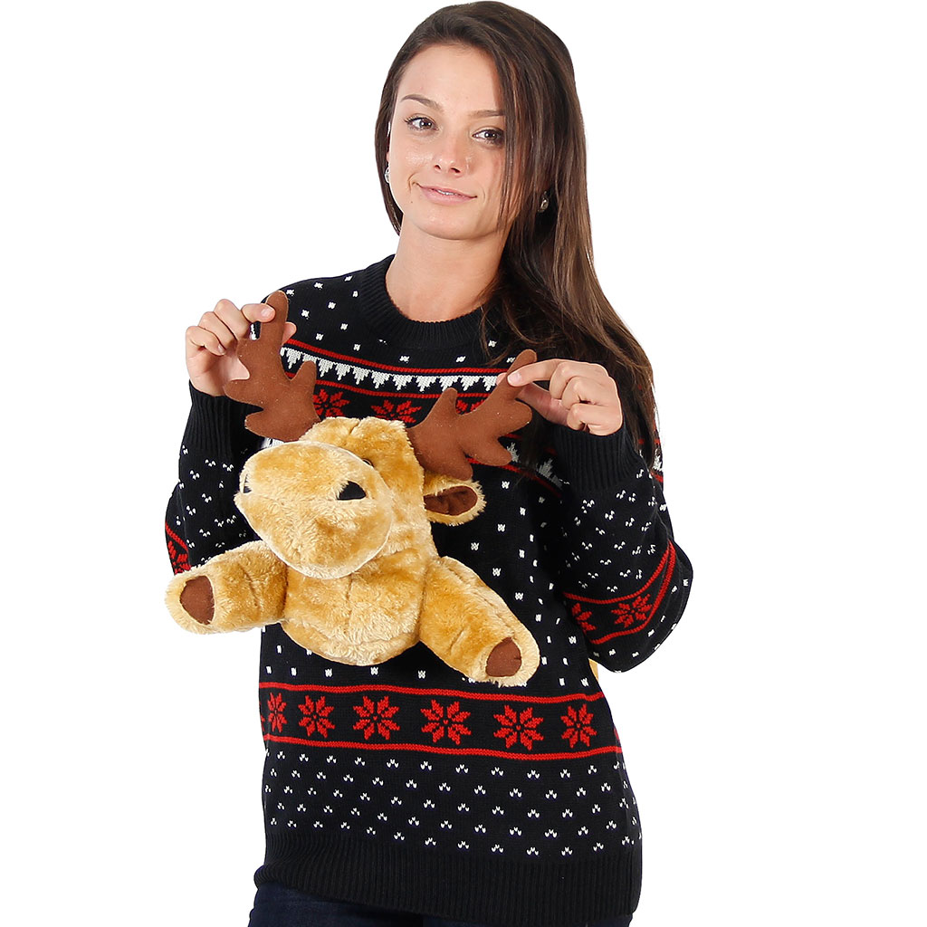 Women's Black 3-D Sweater with Stuffed Moose,Ugly Christmas Sweaters | Funny Xmas Sweaters for Men and Women