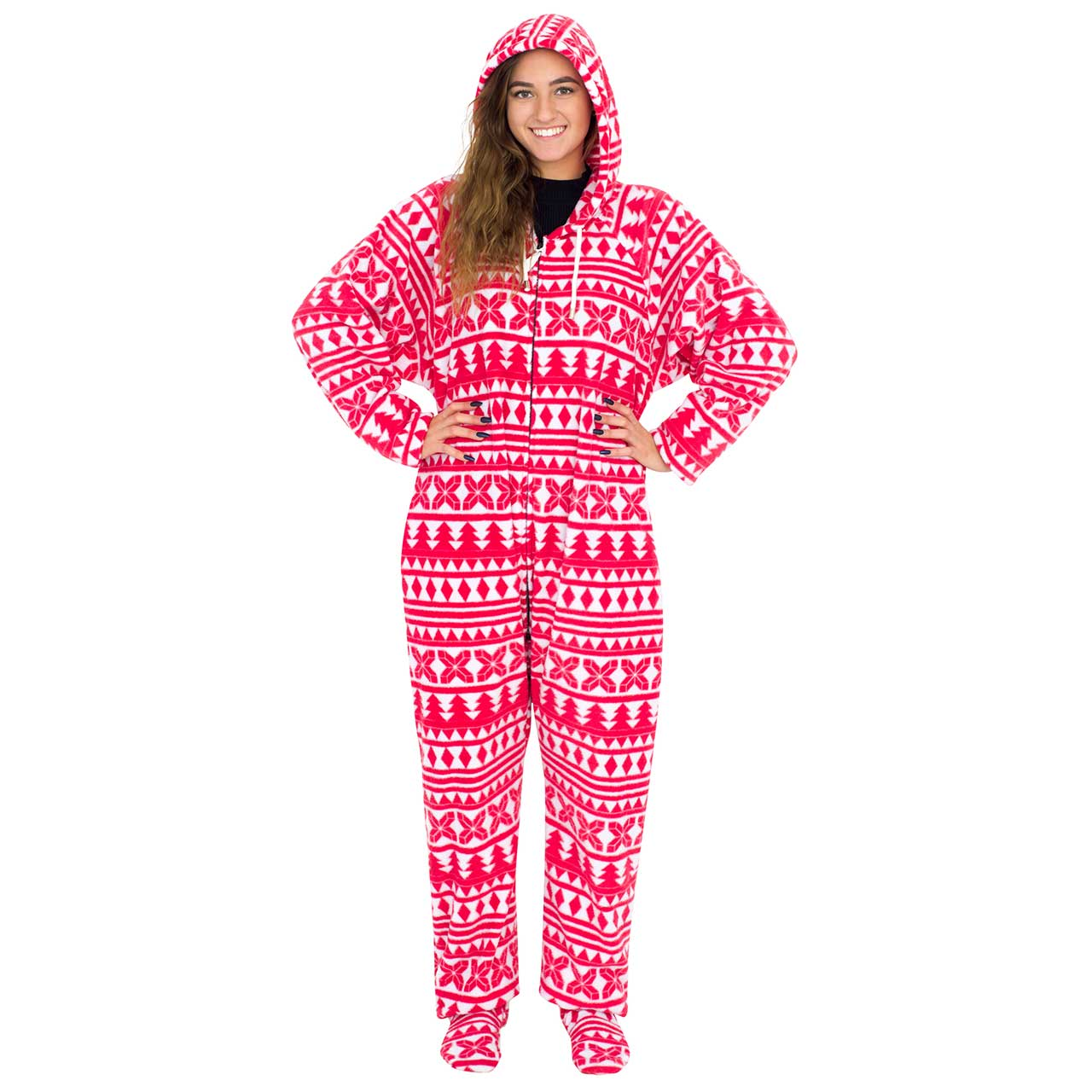 Red and White Ugly Christmas Pajama Suit with Hood,Ugly Christmas Sweaters | Funny Xmas Sweaters for Men and Women