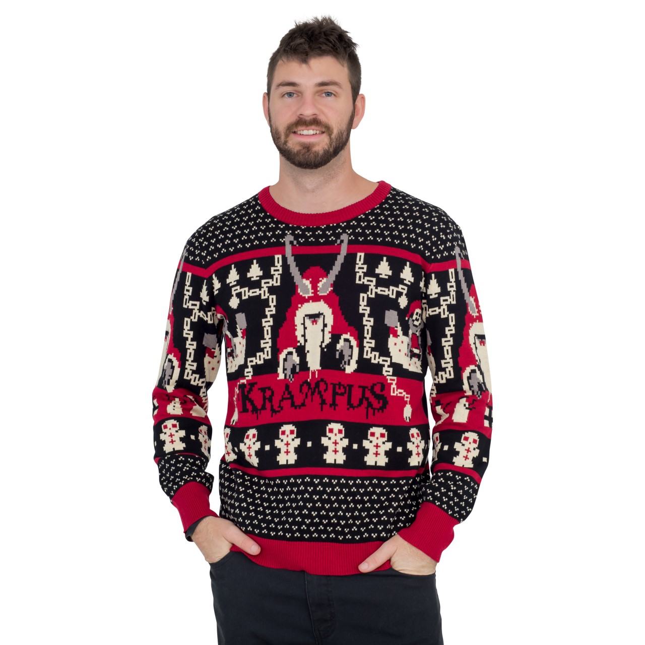 Krampus Knit Ugly Christmas Sweater,Ugly Christmas Sweaters | Funny Xmas Sweaters for Men and Women
