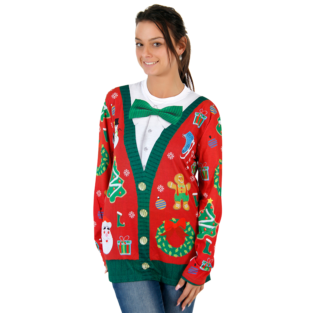 Women's Christmas Cardigan with Bow Long Sleeve All Over Print Shirt,Ugly Christmas Sweaters | Funny Xmas Sweaters for Men and Women