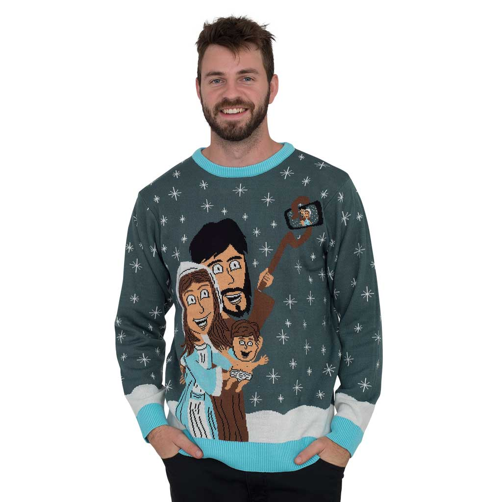 Baby Jesus Family Selfie Ugly Christmas Sweater,Ugly Christmas Sweaters | Funny Xmas Sweaters for Men and Women