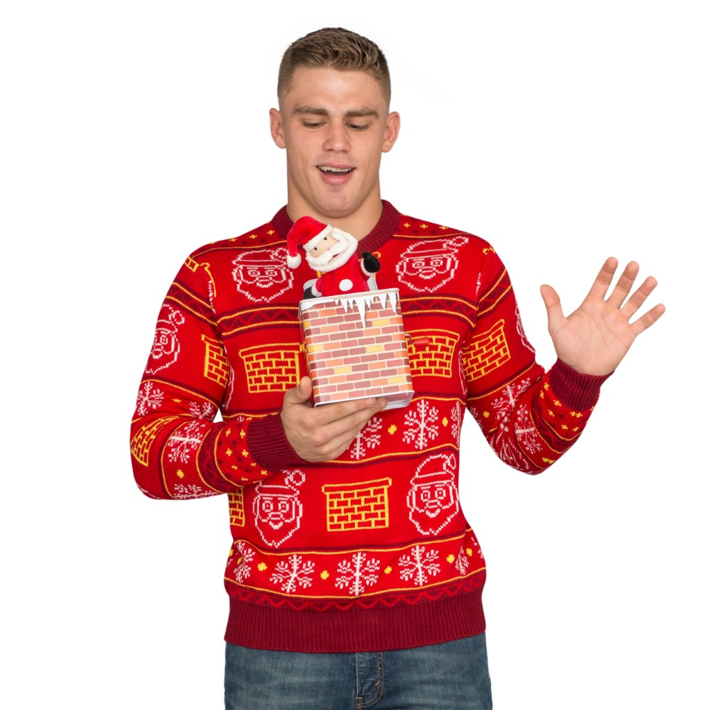 Jack in the Box Santa Claus 3D Ugly Christmas Sweater,Ugly Christmas Sweaters | Funny Xmas Sweaters for Men and Women