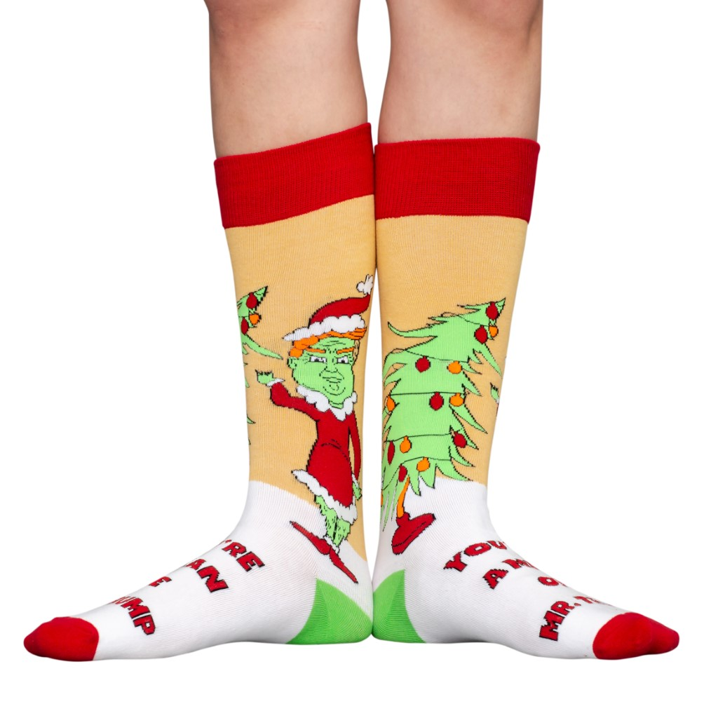 President Donald Trump Grinch Ugly Christmas Socks