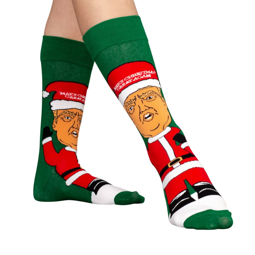"Donald Trump Santa Hat ""Make Christmas Great Again"" Ugly Christmas Socks"
