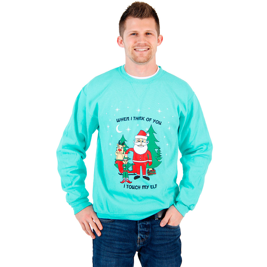 When I Think of You I Touch my Elf Sweatshirt,Ugly Christmas Sweaters | Funny Xmas Sweaters for Men and Women