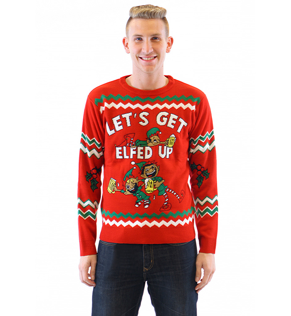 Let's Get Elfed Up Drunken Elves Ugly Christmas Sweater,Ugly Christmas Sweaters | Funny Xmas Sweaters for Men and Women