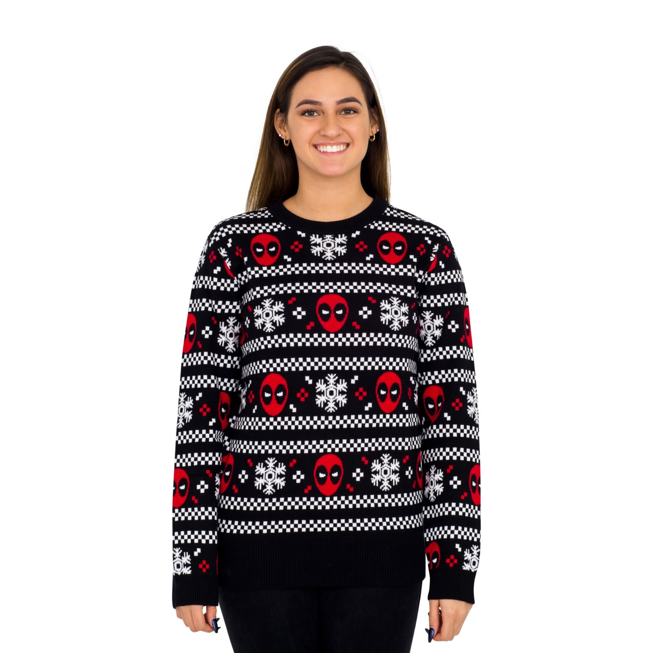 Women's Deadpool Holiday Snow Stripes Ugly Christmas Sweater