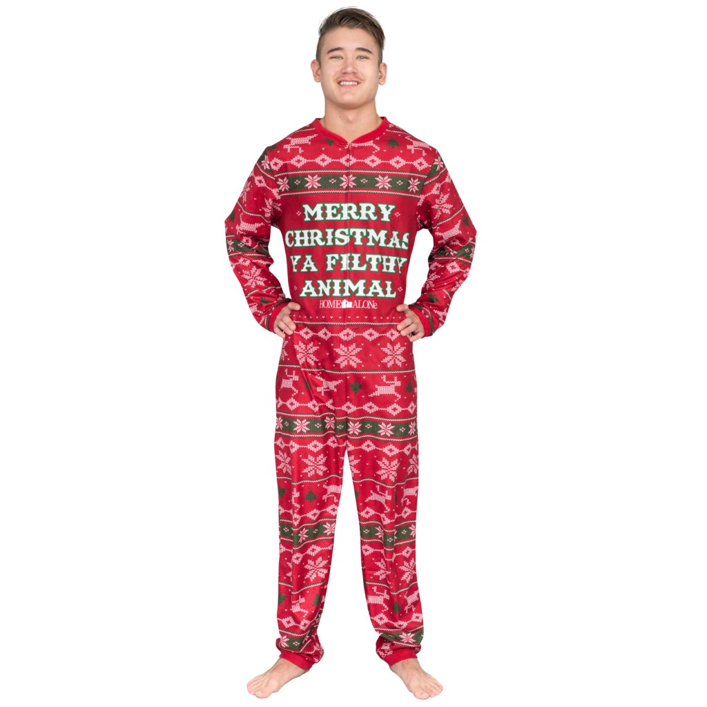 Home Alone Merry Christmas Ya Filthy Animal Pajama Jump Suit,Ugly Christmas Sweaters | Funny Xmas Sweaters for Men and Women