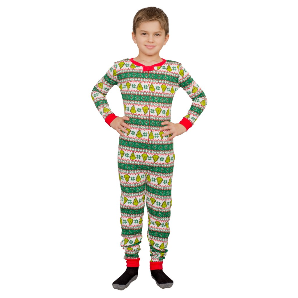 Grinch Family Faces Christmas Kids Pajama Union Suit,Ugly Christmas Sweaters | Funny Xmas Sweaters for Men and Women
