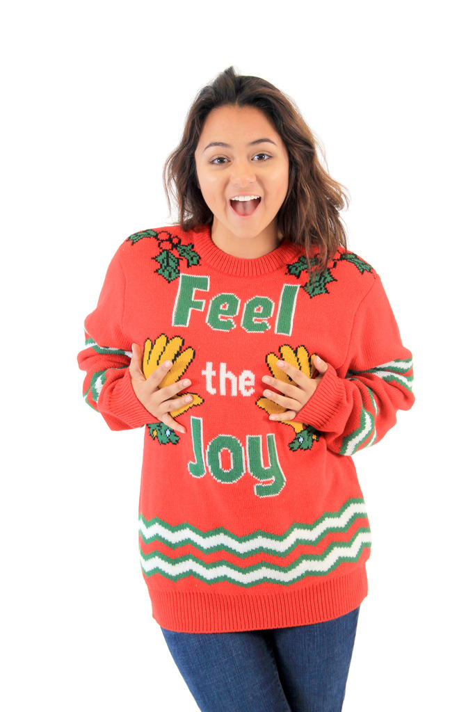 Feel The Joy Groping Hands Tacky Christmas Sweater,Ugly Christmas Sweaters | Funny Xmas Sweaters for Men and Women