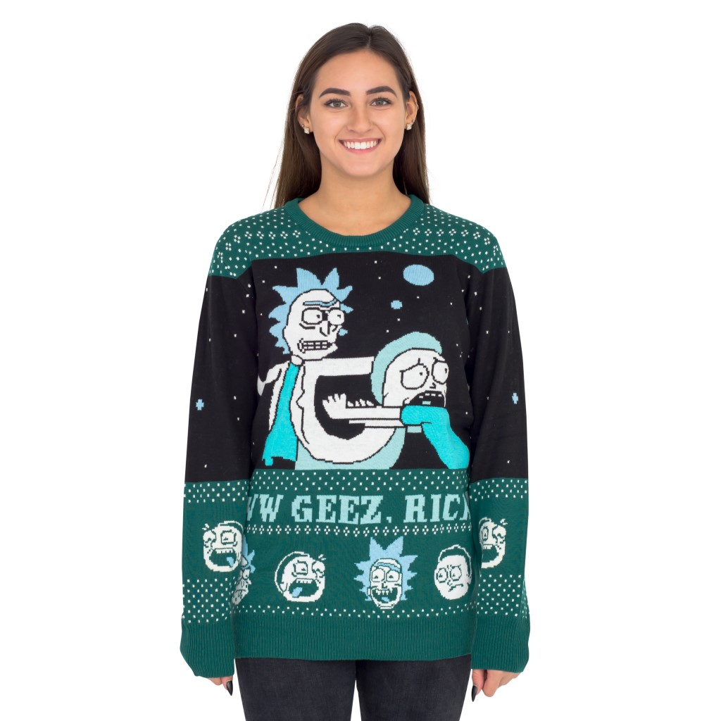 Women's Rick and Morty Aww Geez, Rick Ugly Christmas Sweater,Ugly Christmas Sweaters | Funny Xmas Sweaters for Men and Women
