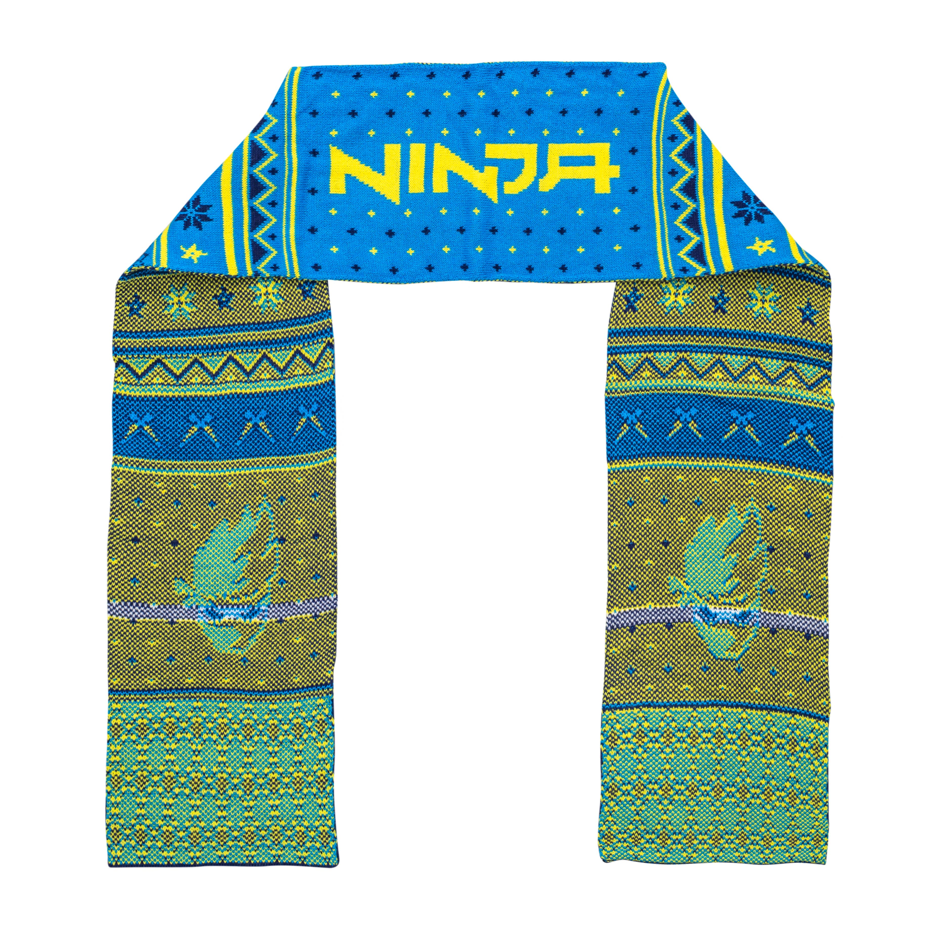 Fortnite Youth Ninja Logo Scarf – Blue/Yellow,Ugly Christmas Sweaters | Funny Xmas Sweaters for Men and Women
