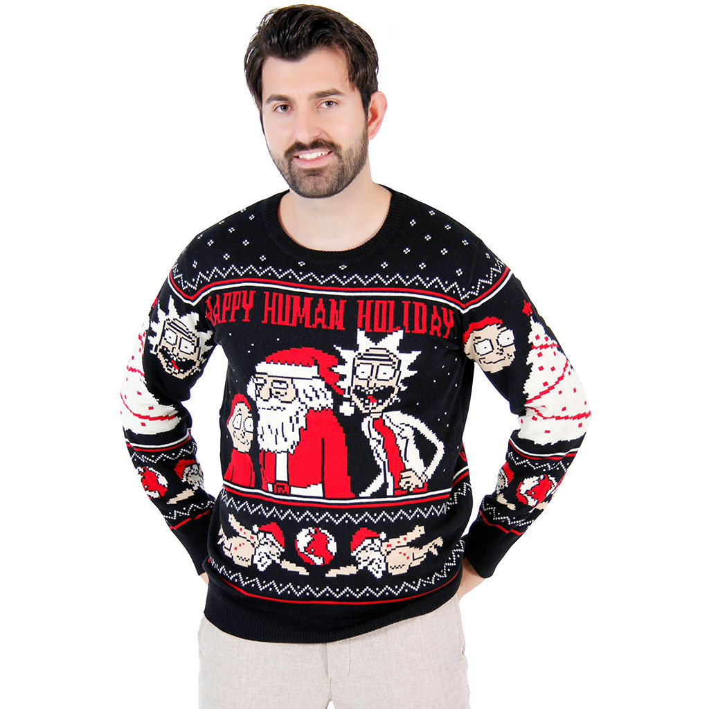 Rick and Morty Happy Human Holiday Ugly Christmas Sweater,Ugly Christmas Sweaters | Funny Xmas Sweaters for Men and Women