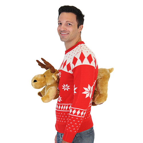 Red 3-D Christmas Sweater with Stuffed Moose,Ugly Christmas Sweaters | Funny Xmas Sweaters for Men and Women