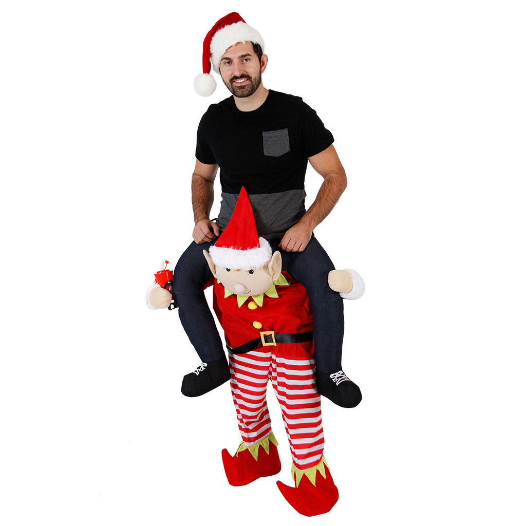 Christmas Piggyback Ride On Elf Costume,Ugly Christmas Sweaters | Funny Xmas Sweaters for Men and Women