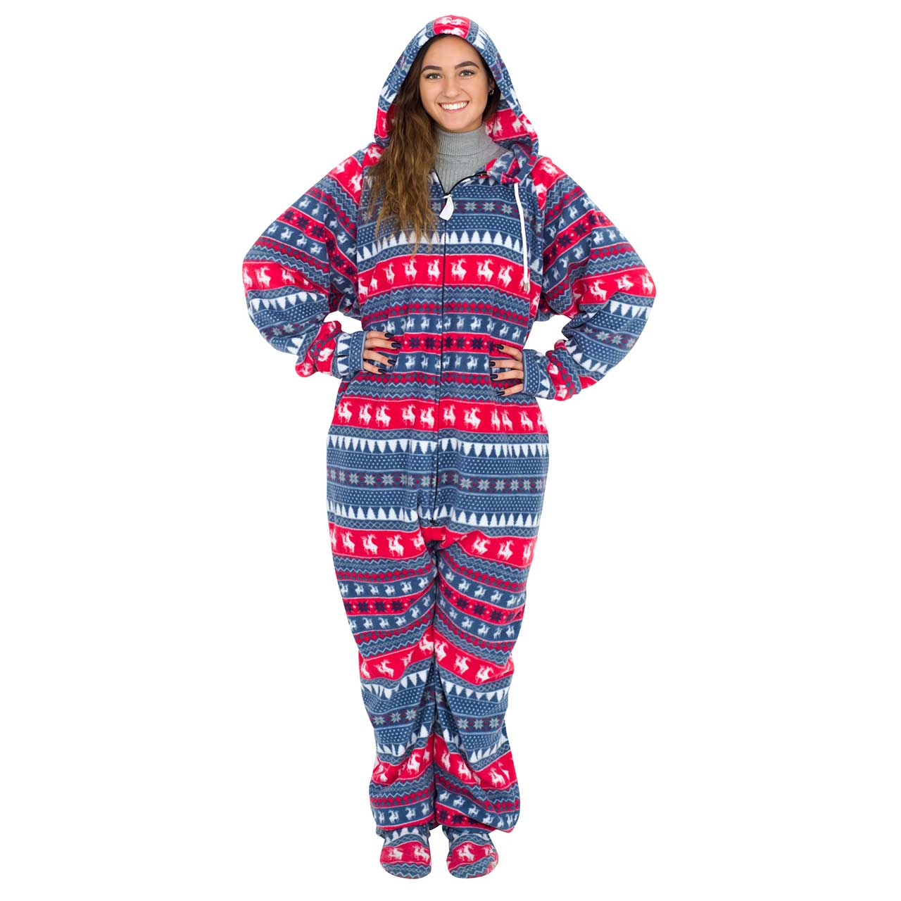 Red and Navy Humping Reindeer Ugly Christmas Pajama Suit with Hood,Ugly Christmas Sweaters | Funny Xmas Sweaters for Men and Women