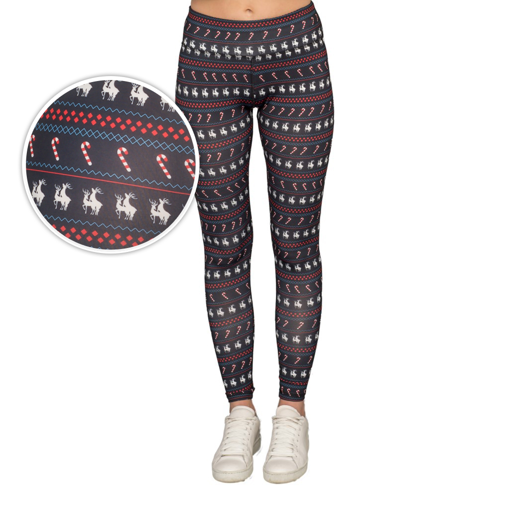 Humping Reindeer Candy Cane Women's Black Christmas Leggings,Ugly Christmas Sweaters | Funny Xmas Sweaters for Men and Women