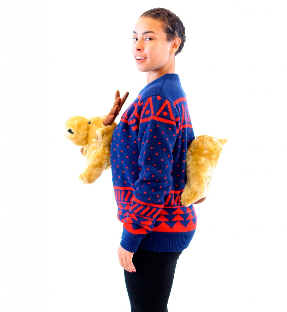 Women's Navy 3-D Christmas Sweater with Stuffed Moose,Ugly Christmas Sweaters | Funny Xmas Sweaters for Men and Women
