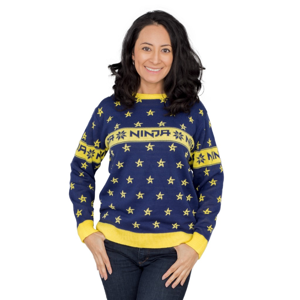 Women's Fortnite Ninja Ugly Christmas Sweater with Shuriken,Ugly Christmas Sweaters | Funny Xmas Sweaters for Men and Women