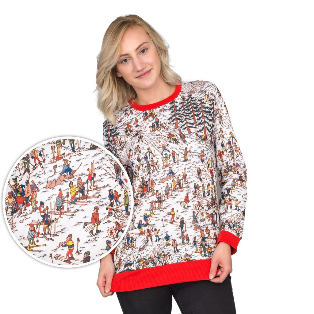 Women's Where's Waldo Snow Mountain Long Sleeve Ugly Christmas Sweater,Ugly Christmas Sweaters | Funny Xmas Sweaters for Men and Women