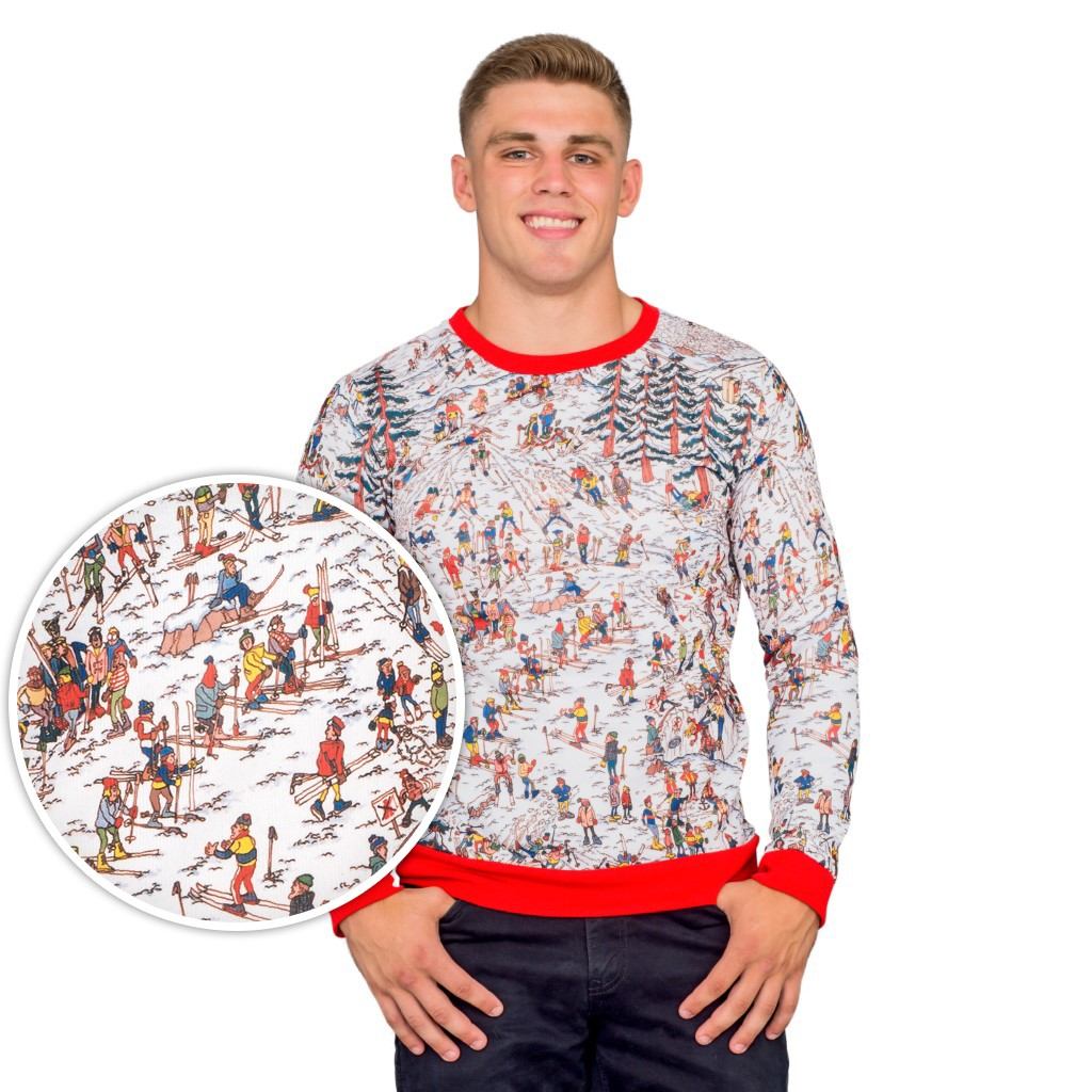 Where's Waldo Snow Mountain Long Sleeve Ugly Christmas Sweater,Ugly Christmas Sweaters | Funny Xmas Sweaters for Men and Women
