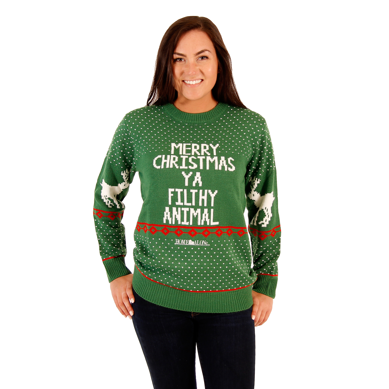 Women's Green Filthy Animal Sweater,Ugly Christmas Sweaters | Funny Xmas Sweaters for Men and Women