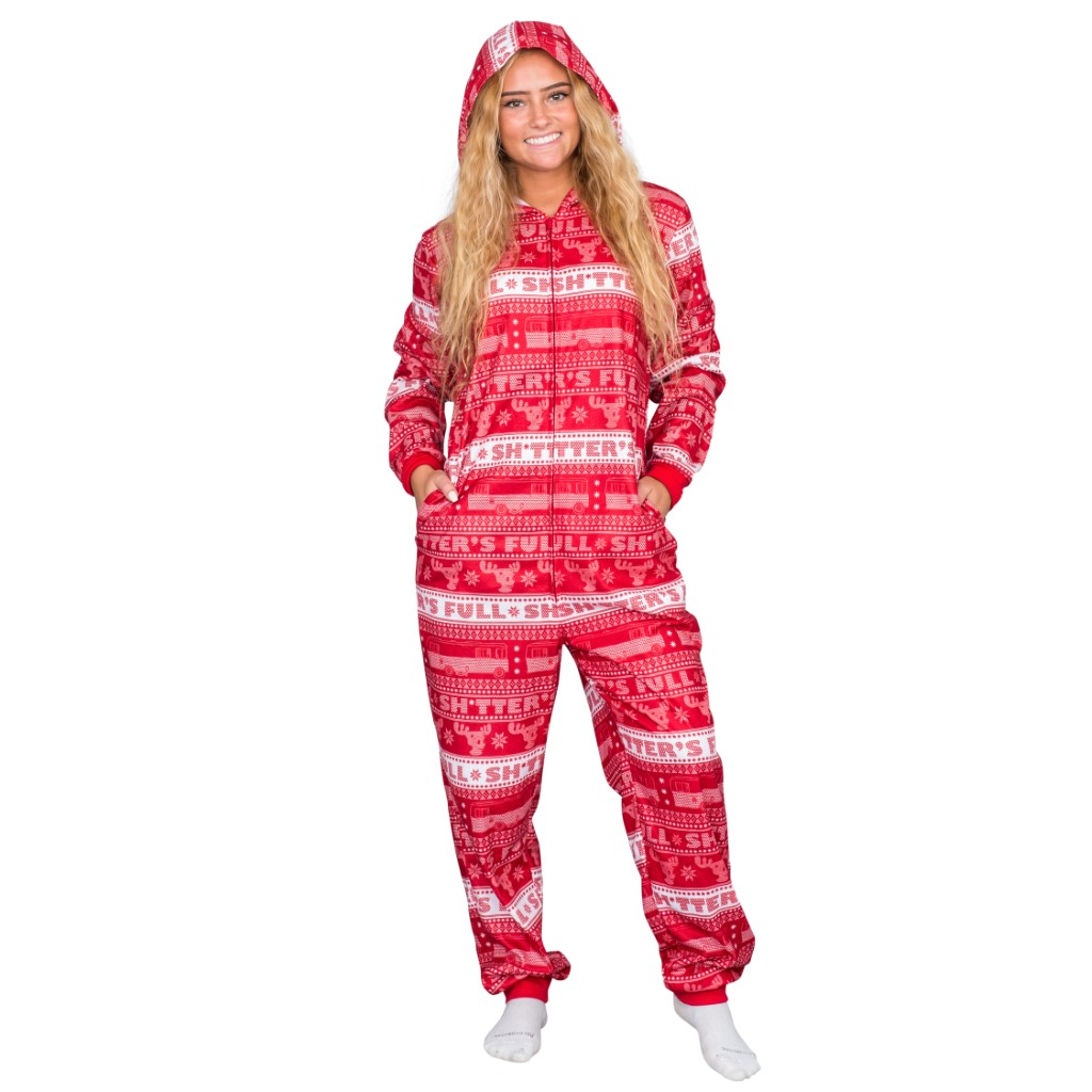 National Lampoon's Christmas Vacation Shitter's Full Pajama Union Suit,Ugly Christmas Sweaters | Funny Xmas Sweaters for Men and Women