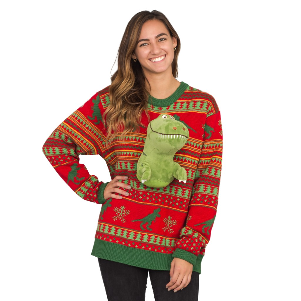 Women's 3D T-Rex Plushie Ugly Christmas Sweater,Ugly Christmas Sweaters | Funny Xmas Sweaters for Men and Women