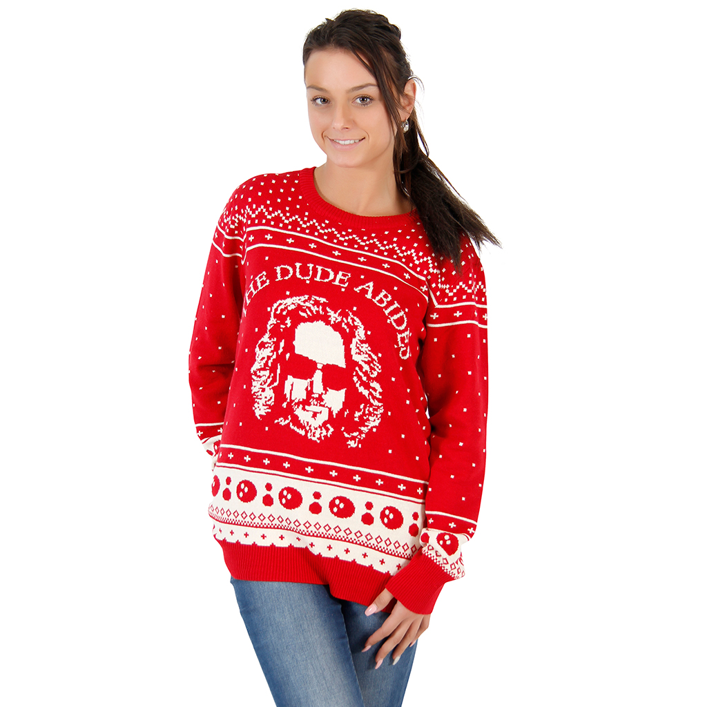 Women's The Big Lebowski The Dude Abides Ugly Christmas Sweater,Ugly Christmas Sweaters | Funny Xmas Sweaters for Men and Women