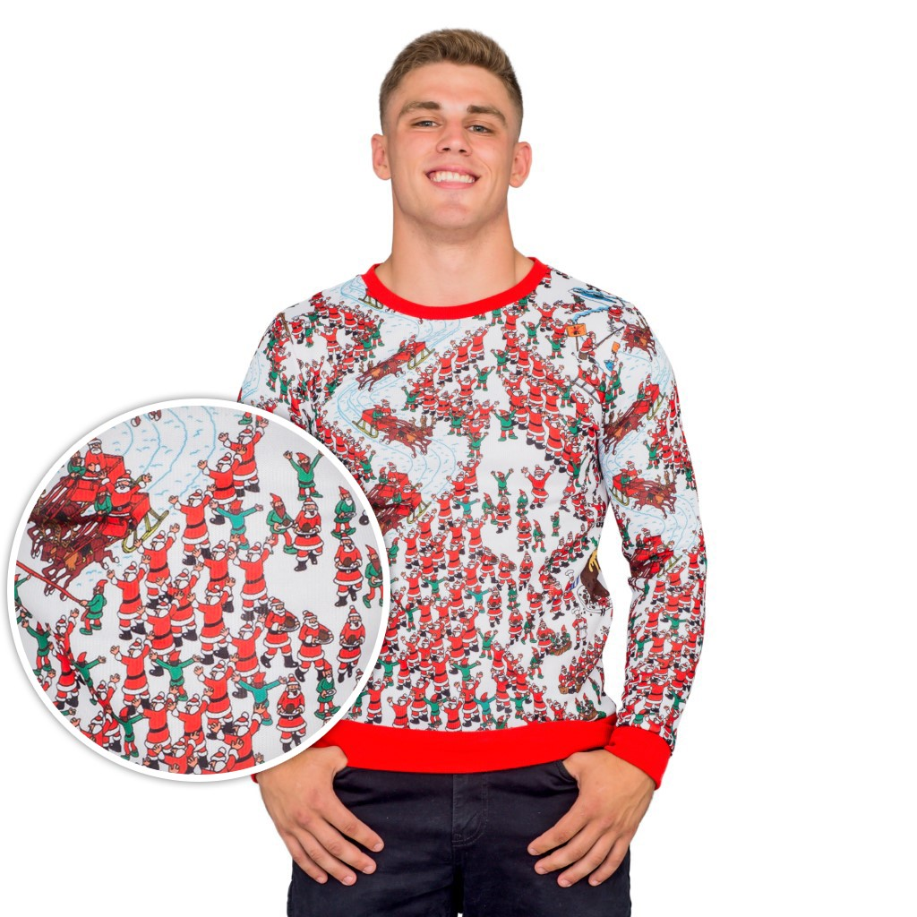Where's Waldo Santa Sleds Snow Mountain Ugly Sweater,Ugly Christmas Sweaters | Funny Xmas Sweaters for Men and Women