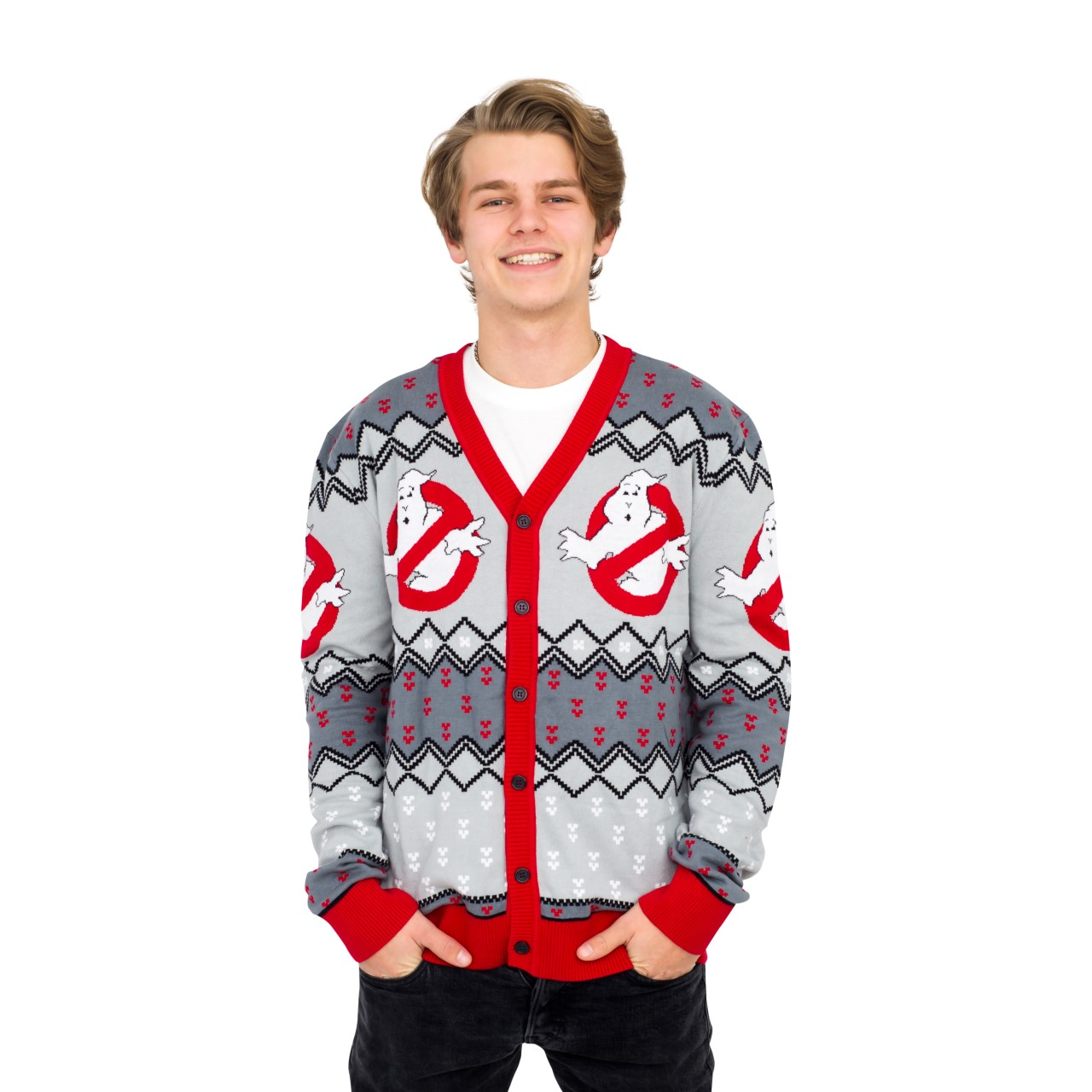 Ghostbusters Logo Ugly Christmas Cardigan Sweater,Ugly Christmas Sweaters | Funny Xmas Sweaters for Men and Women