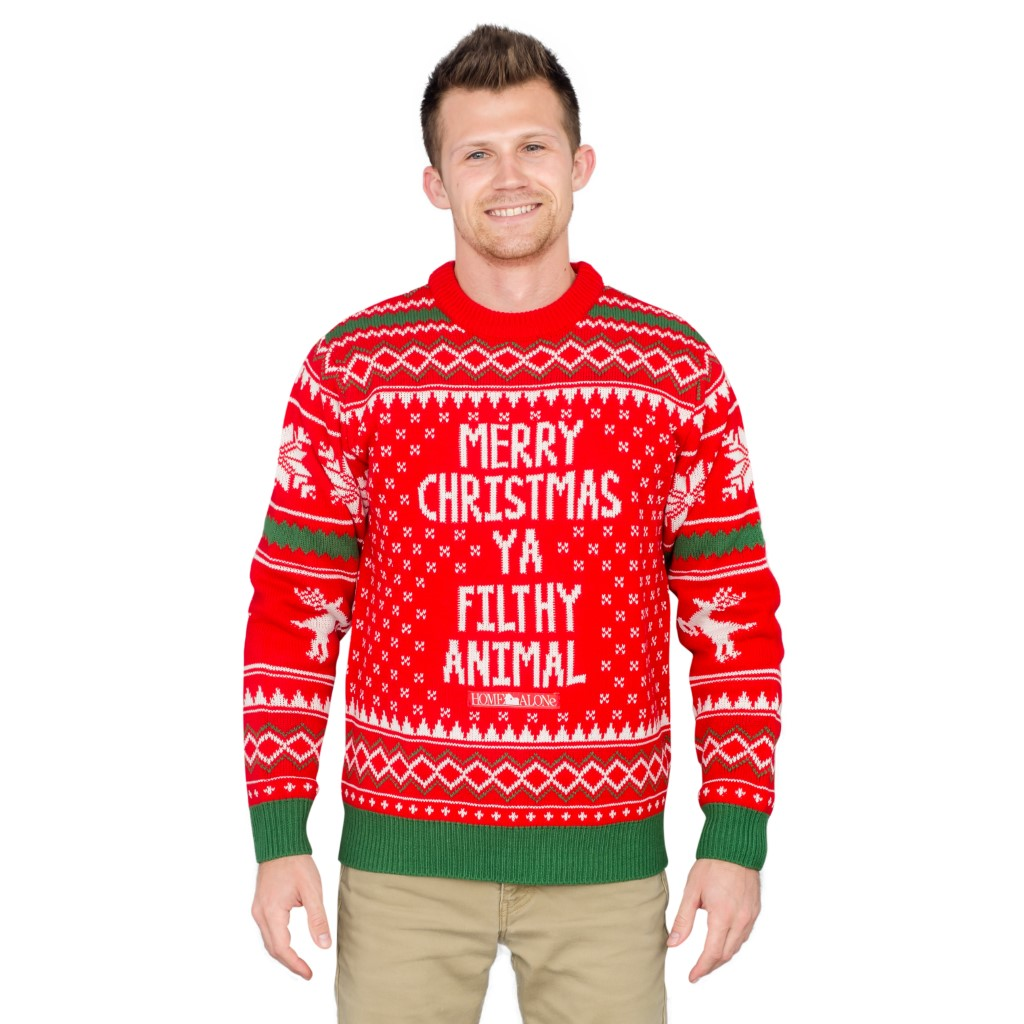 Merry Christmas Ya Filthy Animal Snowflake and Reindeer Ugly Sweater,Ugly Christmas Sweaters | Funny Xmas Sweaters for Men and Women