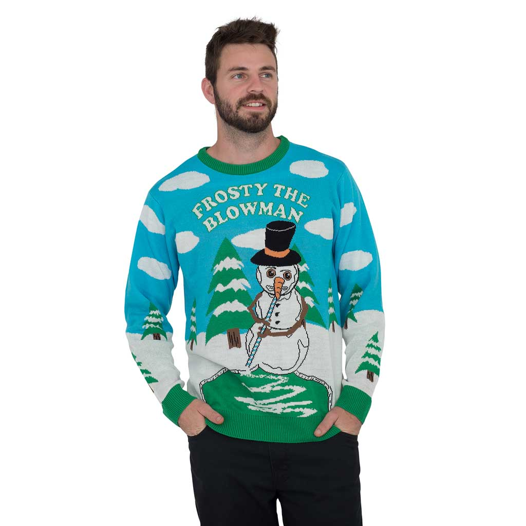 Frosty the Blowman Snowman Ugly Christmas Sweater,Ugly Christmas Sweaters | Funny Xmas Sweaters for Men and Women
