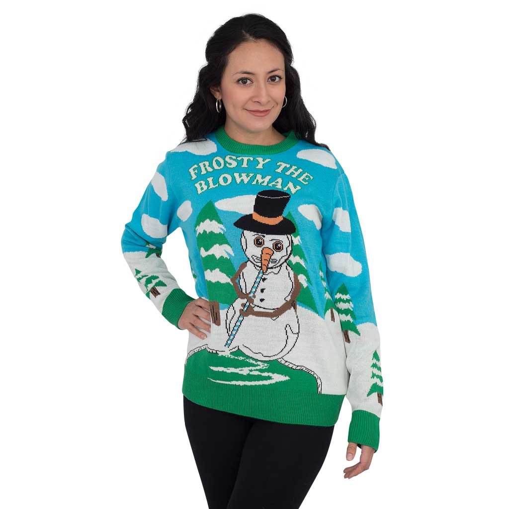 Women's Frosty the Blowman Snowman Ugly Christmas Sweater,Ugly Christmas Sweaters | Funny Xmas Sweaters for Men and Women