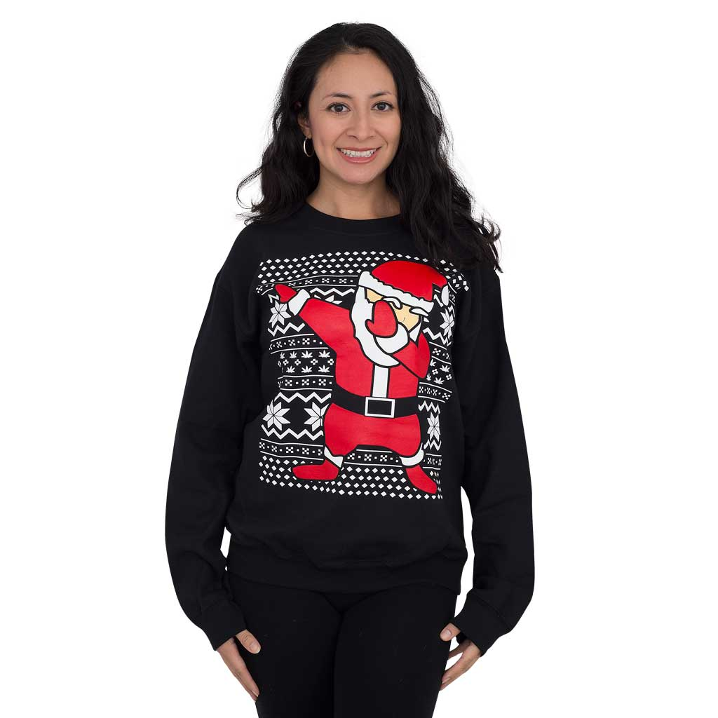 Women's Dabbin' Santa Ugly Christmas Sweatshirt,Ugly Christmas Sweaters | Funny Xmas Sweaters for Men and Women