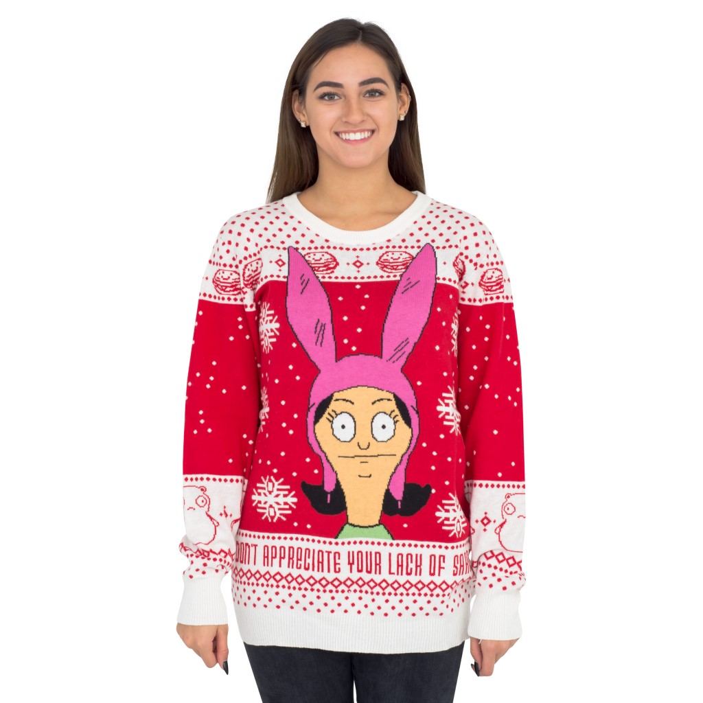 Women's Bobs Burgers Louise Appreciate your Lack of Sarcasm Christmas Sweater,Ugly Christmas Sweaters | Funny Xmas Sweaters for Men and Women