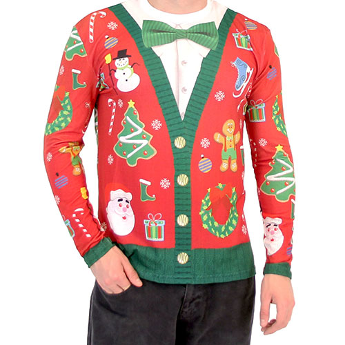 Christmas Cardigan with Bow Shirt,Ugly Christmas Sweaters | Funny Xmas Sweaters for Men and Women