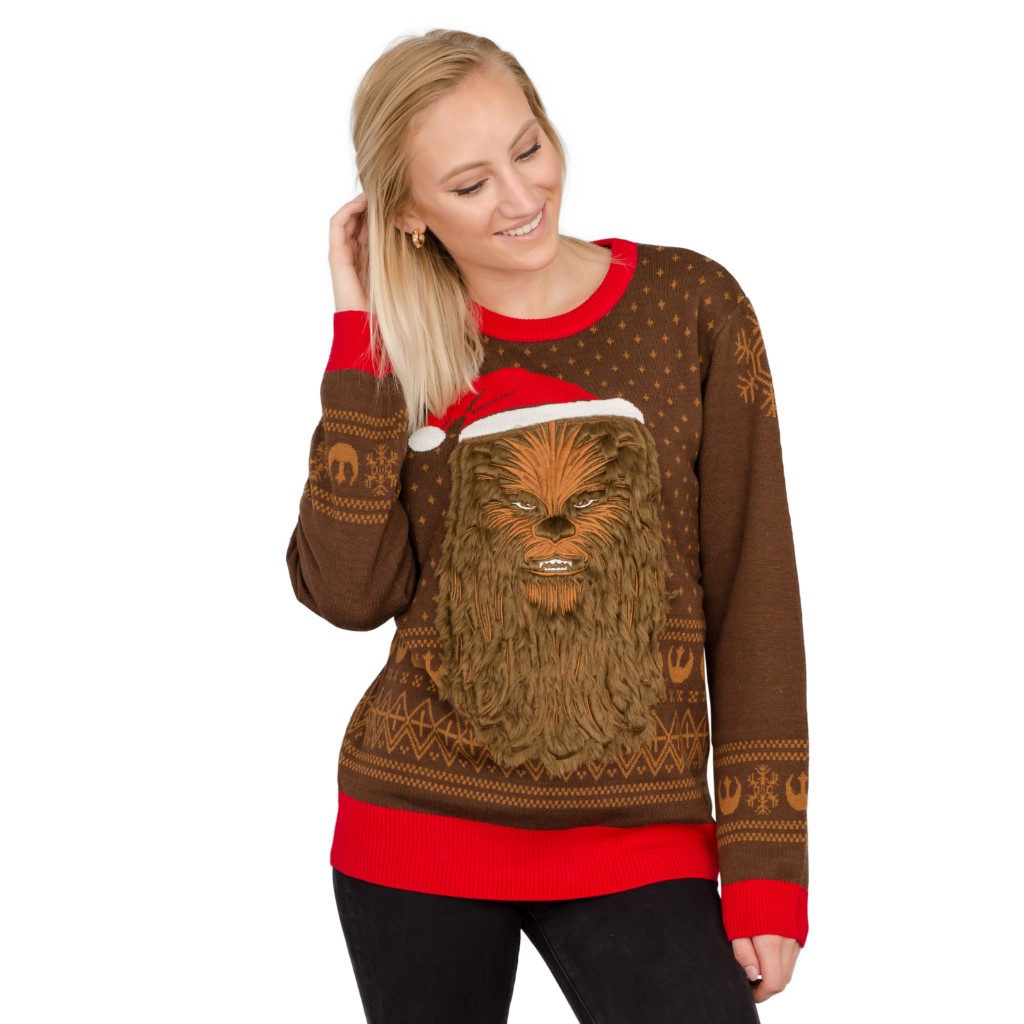 Women's Star Wars Chewbacca Furry Face with Santa Hat Ugly Sweater