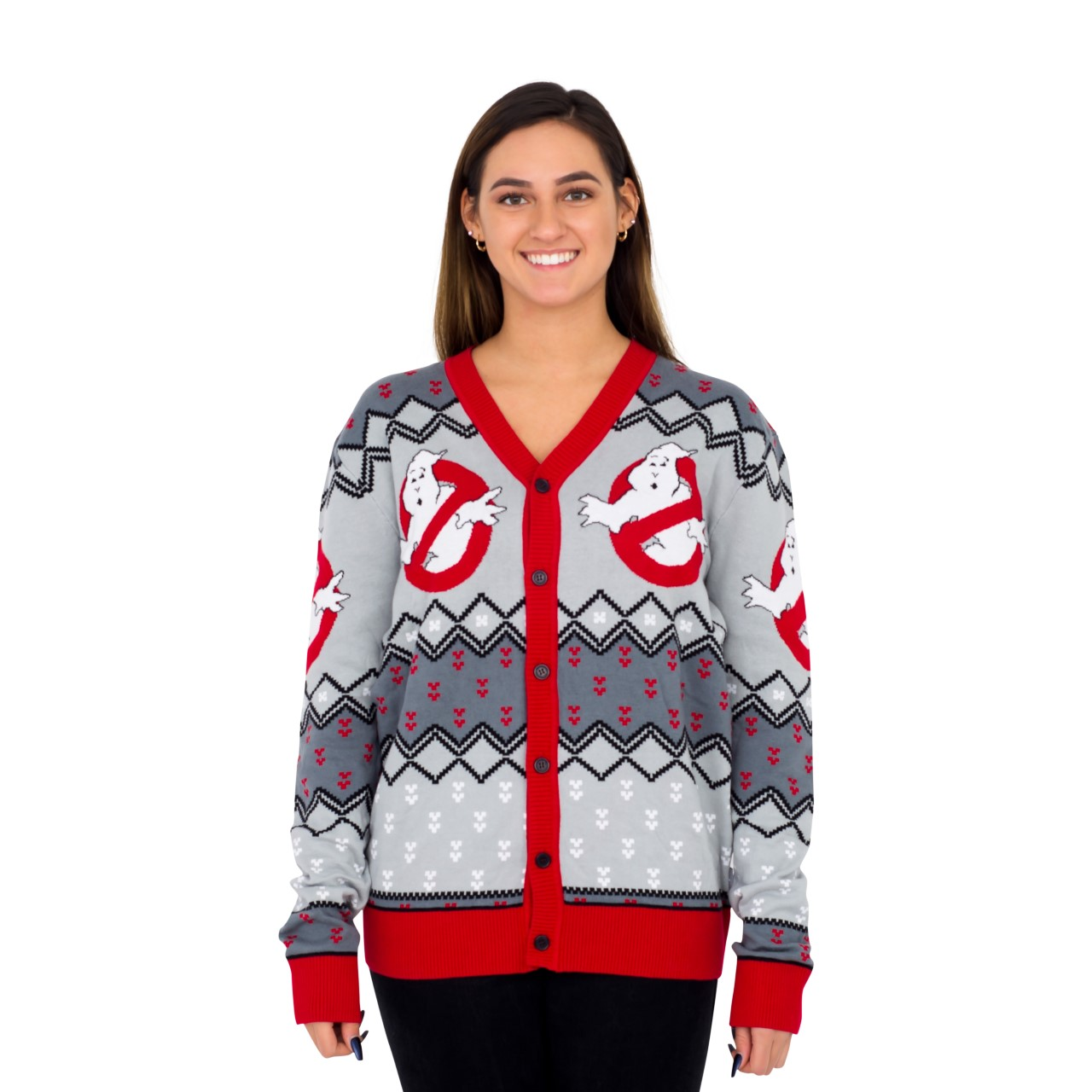 Women's Ghostbusters Logo Ugly Christmas Cardigan Sweater,Ugly Christmas Sweaters | Funny Xmas Sweaters for Men and Women