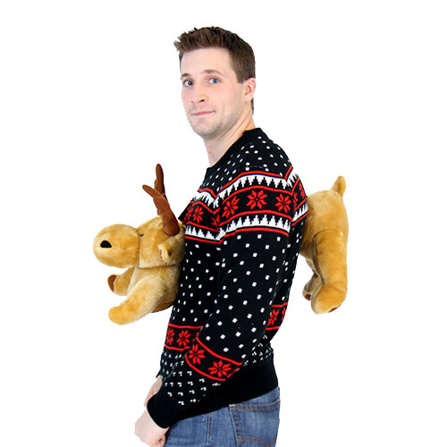 Black 3-D Sweater with Stuffed Moose,Ugly Christmas Sweaters | Funny Xmas Sweaters for Men and Women