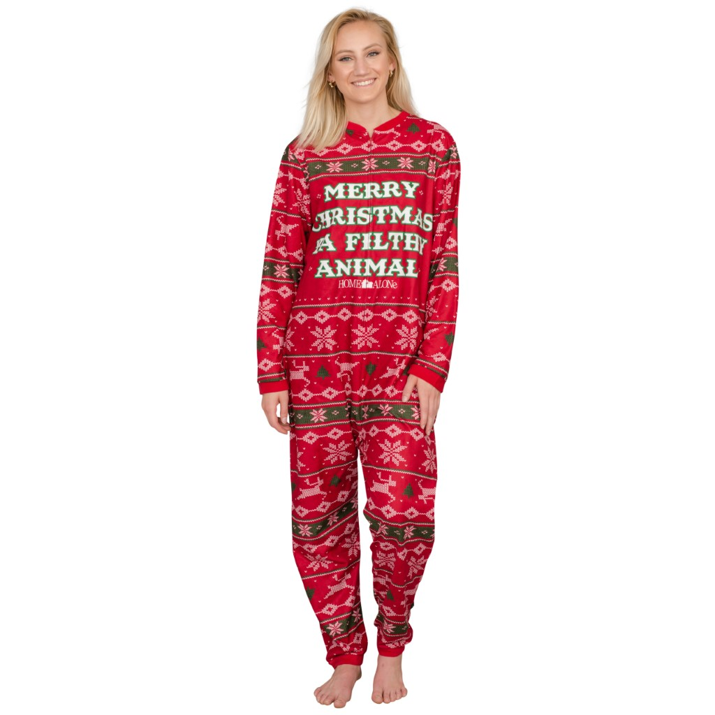 Women's Home Alone Merry Christmas Ya Filthy Animal Pajama Jump Suit,Ugly Christmas Sweaters | Funny Xmas Sweaters for Men and Women