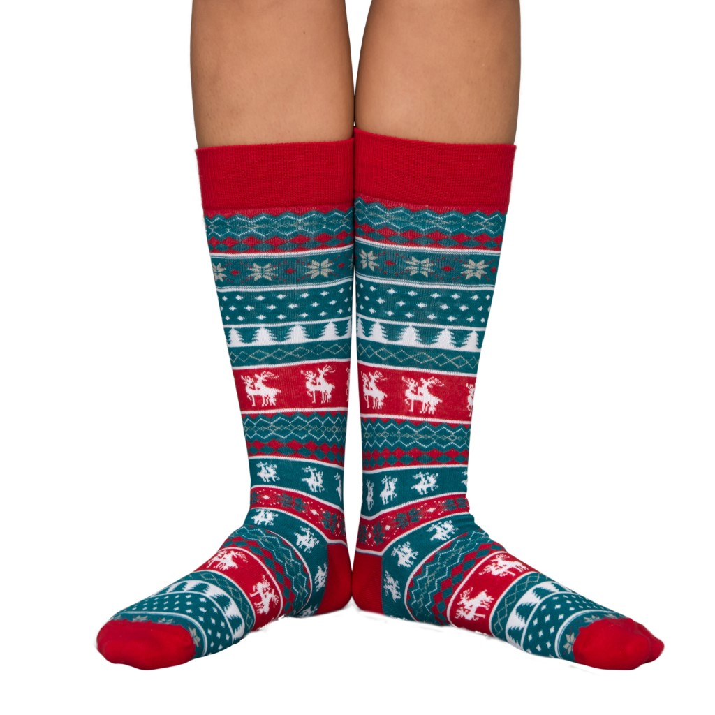 Humping Reindeer Adult Ugly Christmas Socks Blue and Red,Ugly Christmas Sweaters | Funny Xmas Sweaters for Men and Women