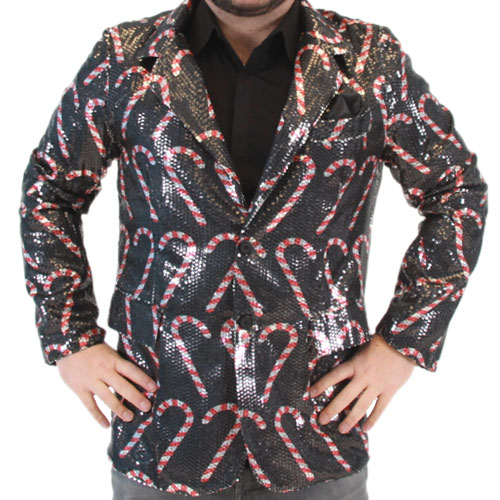 Sequin Candy Cane Blazer Jacket,Ugly Christmas Sweaters | Funny Xmas Sweaters for Men and Women