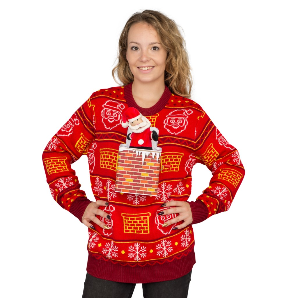 Women's Jack in the Box Santa Claus 3D Ugly Christmas Sweater,Ugly Christmas Sweaters | Funny Xmas Sweaters for Men and Women
