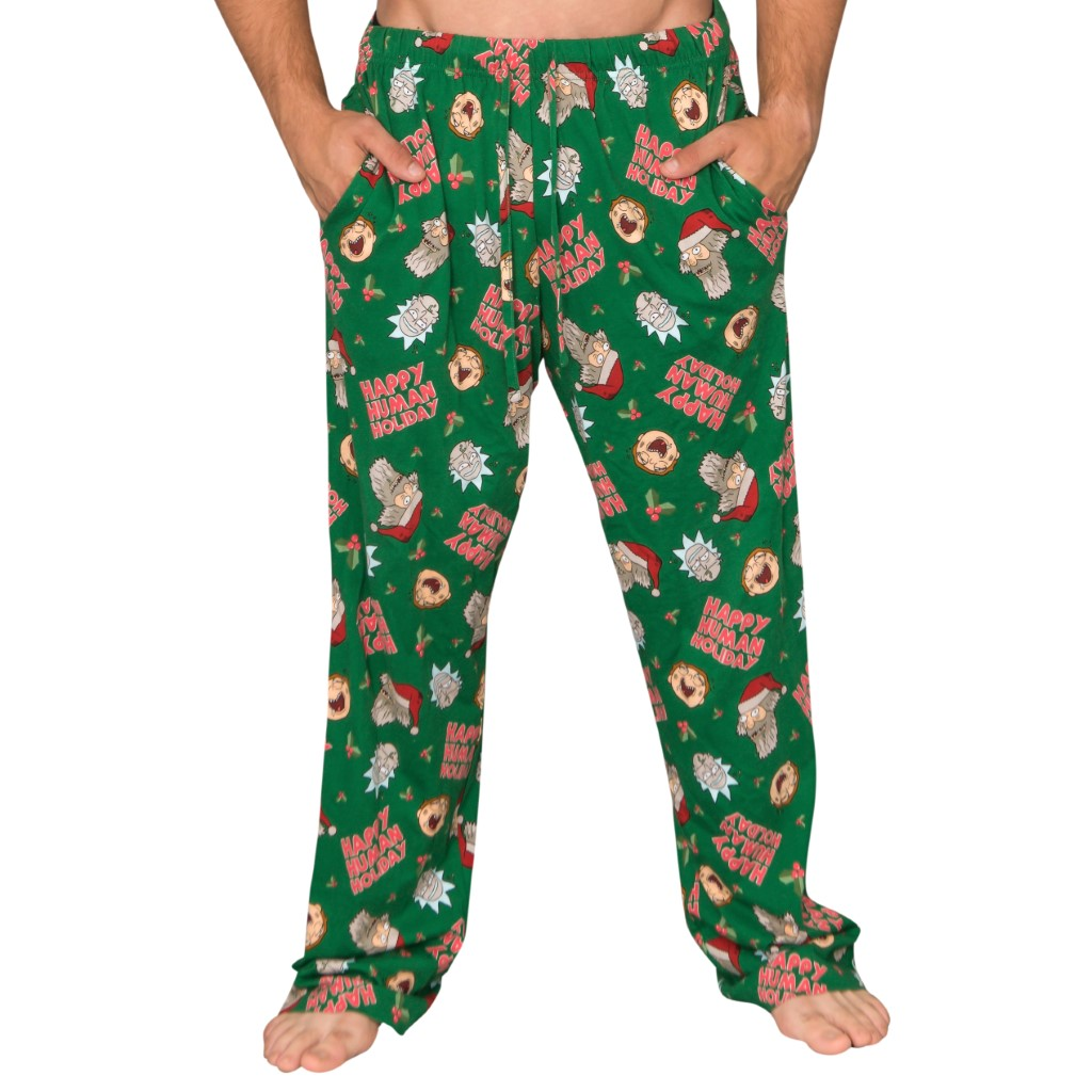 Rick and Morty Happy Human Holidays Lounge Pants,Ugly Christmas Sweaters | Funny Xmas Sweaters for Men and Women